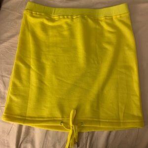 Yellow hoodie skirt fashion nova